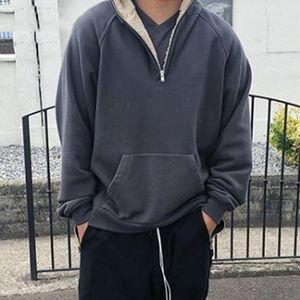 20FW Vintage Simple Half Zipper Hoodies Street Autumn Winter Hooded Sweatshirt Fashion Men Women Sweater Jacket HFYMWY715