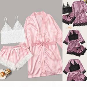 Sexy V-Neck Silk Pajamas For Women Floral Satin Pajama Set Summer 2020 Pyjamas Women Satin Sleepwear Lingerie Pijama Mujer