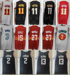 Erkekler Şehir Kazanılan Baskı Basketbol Trae Genç Jersey Dikişli 11 Kawhi Leonard 2 Paul George 13 Murray 27 Takım Renk Siyah Kırmızı Beyaz