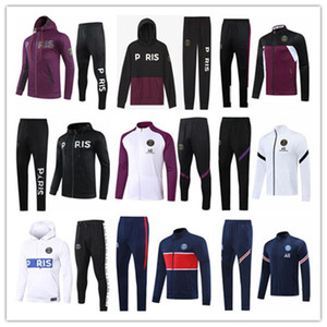 Paris Jacke Anzug 2020 2021 Frankreich Mbappe Cavani 2020/21 AJ Paris Jacke Pink Trainingsanzug Winterkleidung Full Zipper Jacke Anzug