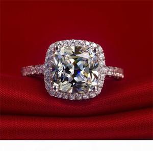 K Diamond Ring Real 100% 925 anillos de plata esterlina al por mayor Inlay 3 Carat Sona Simulación CZ Anillos de boda para mujeres