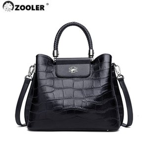 Zooler Bolsos de hombro genuinos exclusivamente suaves de Zooler NUEVO 2020 bolso de cuero de piel de cuero 2020 bolso de damas bolso negro femenino de mano # ND6Z