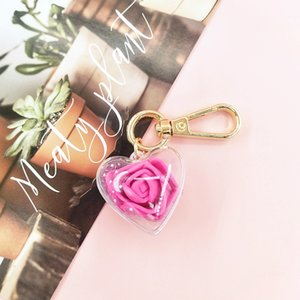 Valentines Day Gifts Rose Preserved Flower Keychain Female Bag Pendant Love Keychain Party Favor 7 Color PPD4570
