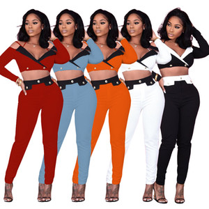 2021 New Arrivals Long Sleeves Buttons Pants Sets Two Pieces Suits Fashion Long Sleeves Cropped Top and Pencil Pants Nightclub Party