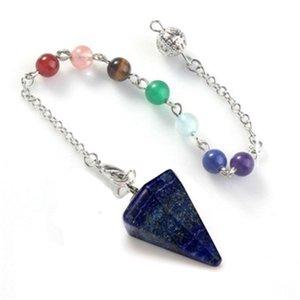 Cristales de curación natural Collar de piedras 7 Chakras Hexagonal Vértebra cono Colgante Gota de agua Modelado Adorno para mujer Decora 7 4xy M2