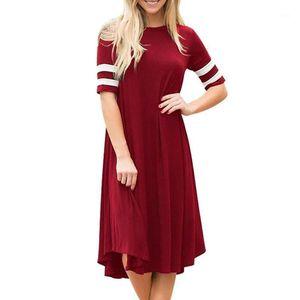 Vestidos casuales Vestido de verano para mujer de manga corta de manga corta Mujeres Simple Señoras Moda Vestidos transpirables1