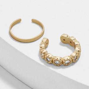 2Pcs Set Fashion Ear Cuff Wrap Rhinestone Flower Ear Cuff Cartilage Clip Earrings No Piercing Jewelry For Women Lady Jewelry