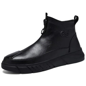 G5 CONXEGN leather cowhide high-top leather boots winter plus velvet warmth and leisure all-match Korean trend shoes men
