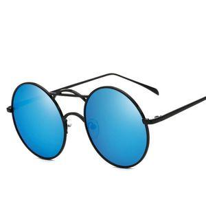 OLOEY Brand Trendy Metal Women's Sunglasses Retro Round Frame Sun Glasses for Men Women Color Reflective Unisex Driving Oculos