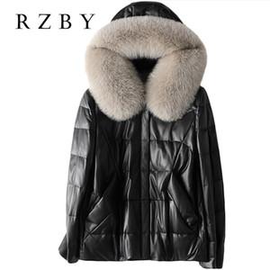 RZBY 3XL women Genuine Leather Jacket winter fur 100% real Sheepskin Coat women White duck down Jacket fit Russian winter