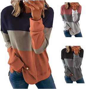 Spring Autumn Patchwork T-shirt Women Fashion Long Sleeve O-Neck Tee Shirts Casual Loose Soft Plus Size Female Tops Tshirt