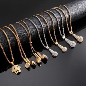 Из нержавеющей стали металлический микрофон внеземные наушники кулон кулон ожерелье для мужчин личности модный ювелирные изделия хип-хоп цепь1