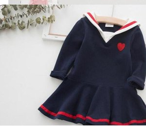 GIRLS NAVY LONG SLEEVE DRESS fall 2019 Girls Embroidered stitched princess skirt academy autumn dress