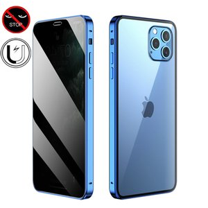 Privacy Tempered Glass Magnetic Case for iPhone 11 12 mini Pro Max XS MAX XR 8 7 6 Plus SE Magnet Metal Bumper Anti-Peeping Cover