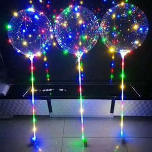 30X LED Flashing Balloons Night Lighting Bobo Ball Multicolor Decoration Balloon Wedding Decorative Bright Lighter Balloons With Stick Gifts