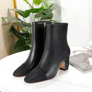 Donne caviglia inverno pelle scamosciata tacchi alti stivali da donna moda punta a punta gladiatore scarpe in pelle nera per donna più taglia 41 yk1207