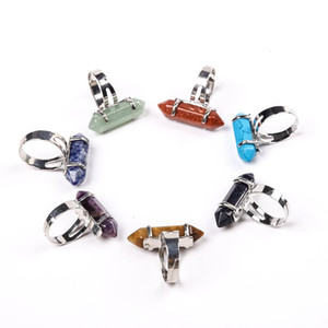 2020 Reiki Charms Healing Natural Stone Hexagonal Rings for Women Men Finger Ring Purple Pink Quartz Tiger Eye Wedding Jewellery