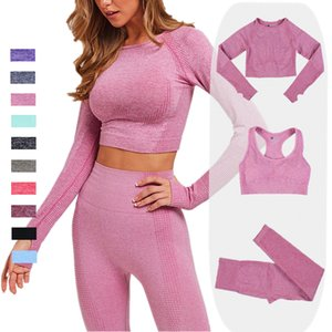 2 3pcs Women Seamless Yoga Set Sportswear Gym Clothing Fitness Long Sleeve Crop Top High Waist Leggings Sports Suits Tracksuit