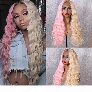 Eewigs Half Rose Half Half Synthee Dentelle Synthétique Perruque Avant Long Wavy Cheveux Glainess Ombre Perruques résistantes à la chaleur pour femmes noires