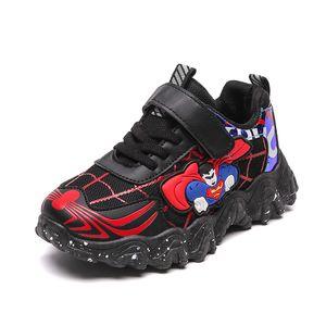 Kiwielf garnitures sneaker filles superman enfants chaussures avec lumières baskets 2020 printemps automne chaussures enfants enfant enfant bébé chaussures C1120