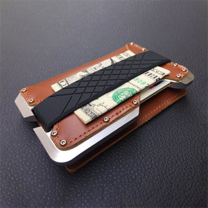Dienqi Cow Leather Thin Men Wallet Card Rfid Aluminum Cards Holder Man Multifunction Metal Male Travel Purse Smart Walet Vallet C0117