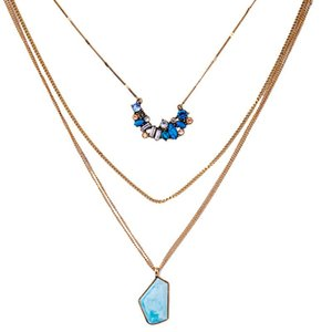 Jewelry Factory 2020 Elegant Color Synthetic Stone Multilayer Chain Necklace Women Fashion Statement Nekclace Wholesale