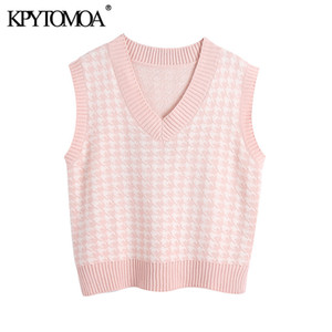 KPYTOMOA Moda de mujer de gran tamaño Houndstooth chaleco chaleco suéteres vintagesleeveless laterales laterales femenino chaleco chic tops 201119
