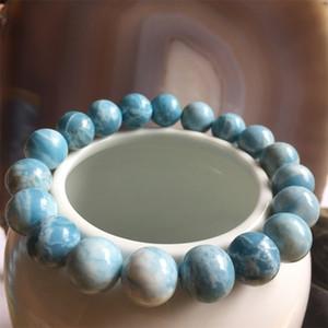 정품 보석 미소 짓는 Larimar Ocean Sea Bracelet 6 / 8 / 10 / 12mm 해양 자연 보석 돌 비드 치유력 에너지 쥬얼리 Q1201
