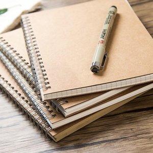 Em branco Cowhide Bobina Esta grade linha horizontal esboço esboço diário livro matriz kraft papel diário livro notepad registro