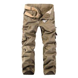 Misniki 2020 Yeni Sonbahar Erkekler Kargo Düz Casual Çoklu Taktik Pants 28-40 Axp138 Cepler