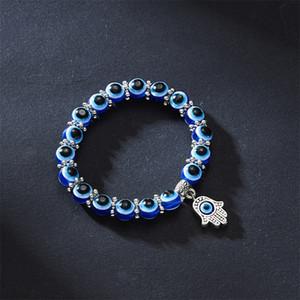 Homens Mulheres Bracelete Olho Jóias Lady Chamilia Grânulos Handmade Weave Liga Moda Elastic Charm Chain 2 57YH J2