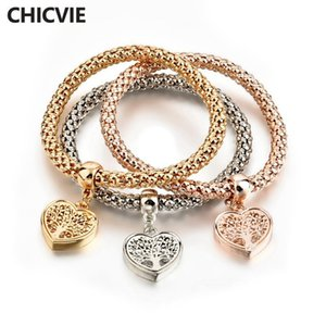 CHICVIE 3 PCS SET Custom Love type Tree of Life Bracelets & Bangles Charms For Jewelry Making For Women Plant Bracelet SBR170118