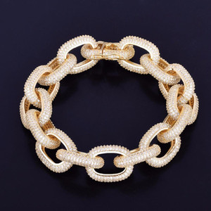 2020 New 18mm Chunky Zircon Round Cuban Link Bracelet Men's Hip hop Jewelry Gold Silver Chain Bangle