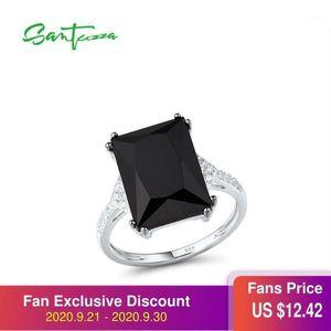 Santuzza Anillos de plata para mujeres Genuine 925 Sterling Silver Conciso Baguette-Cut Black Glass Cubic Zirconia Trendy Party Jewelry1