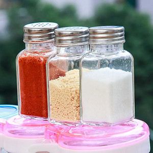 Kitchen Gadget Glass Spice Bottle Seasoning Box Pepper Spice Storage Bottle Jars Salt Pepper Cumin Powder Box SEA SHIPPING NWE3099