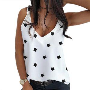 CYSINCOS Summer Womens Tank Tops Casual Star Print Tops Loose Blouse Vintage Shirt Plus Size Straps For Ladies Vest Women