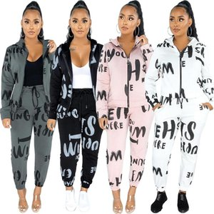 Cutubly Long Sleeve Women Set Tracksuit Letter Print Two Piece Set Zipper Hooded Jacket Pencil Pants Fashion Jogging Suit