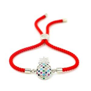 Charm Armbänder Niedliche CZ Zirkon Kristall Frucht Ananas Für Frauen Mädchen Kinder Justierbare rote String Armband Schmuck Geschenk
