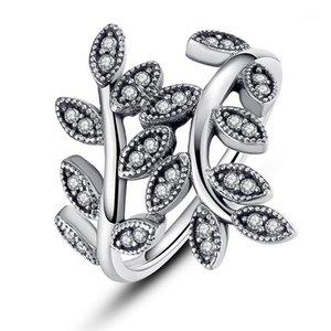 Codemonkey Authentic 925 Sterling Silber Ring für Frauen Funkelnder Blätter Silber Ring Zirkon Schmuck für Frauen Hochzeit Geschenk R71141