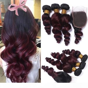 Pre-colored Ombre Brazilian Hair 3 Bundles With Closure 1b 99j 2 Tone Red Burgundy Non-remy Loose Wave Ombre Human Hair Weave