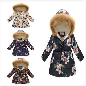 Fashion Girls Down Jacket Fleece Winter Children Clothes Hooded Coat Floral Baby Girl Overcoat Outwear Kids Outfits Tops Jumpers 201110