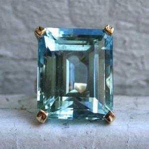 Sea Blue Topaz Stone Princess Diamond Engagement Sapphire Anello 14K Gold Anillos per le donne Bizuteria Jade Jewelry Y1124