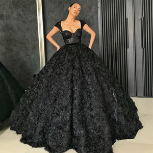 Black Prom Dresses 2021 3D Rose Flowers Skirt Dress Party Gowns Sequins Lace Top Special Occasion Dress Dubai 2k21Black Girl Couple Day