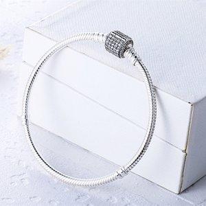 Sterling Silver Femmes Bracelets avec boîte blanc Micro Pavé CZ Diamond Bracelet logo estampillé pour Pandora Perle de charmes européennes