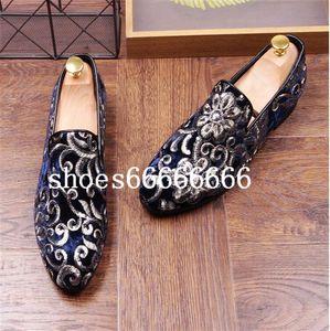 2020 Promotion New spring Men Velvet Loafers Party wedding Shoes Europe Style Embroidered black Velvet Slippers Driving moccasins fdzhlzj