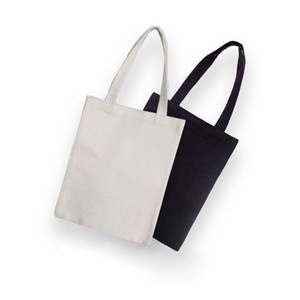50pcs White black Blank pattern Canvas Shopping Bags Eco Reusable Foldable Shoulder Bag Handbag Tote Cotton Tote Bag Wholesale