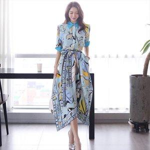 2019 Summer Geometric Print Irregular Dress Women Elegant Contrast Color Turn Down Collar Pocket Long Shirt Dress With Belt