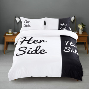 Black&white Her Side His Side bedding sets Queen King Size double bed 3pcs 4pcs Bed Linen Couples Duvet Cover Set 201112