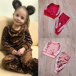 Kids Children Velvet Tracksuit Two Piece Long Sleeve Outfits Boys Girls Pullover Hoodie+ Pants Sportswear Sweatsuit Clothing Set LY11261