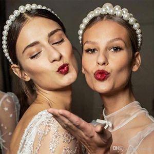 Imitation Pearl Hair Hoop Design Trendy Luxury Big Pearl Headband for Women Elegant Headwear Girl Hair Accessories Wedding Party Jewelry